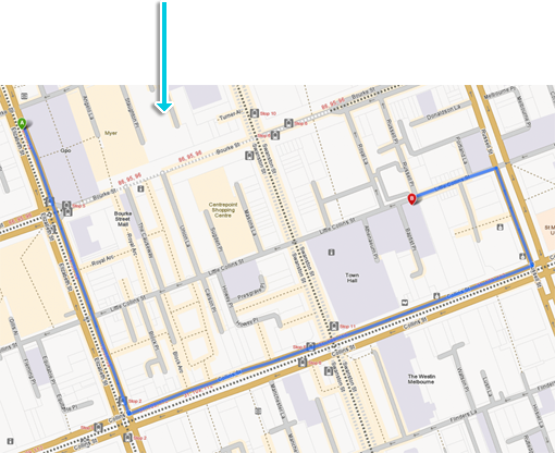 Screenshot: Route line on map